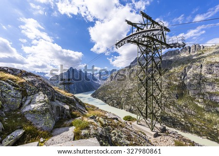 pass Grimsel in the Alps of Switzerland - stock photo