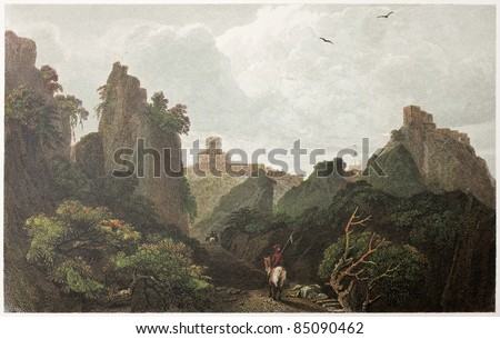 Pass of Sant Alessio between Taormina and Messina, Sicily. Created by De Wint and Askey, printed by McQueen, publ. in London, 1821. Ed. on Sicilian Scenery, Rodwell and Martins, London, 1823 - stock photo
