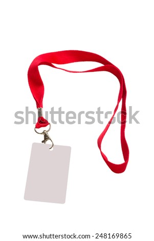 Pass on a red strap isolated on a white background - stock photo
