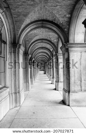 Passage (black and white) - stock photo