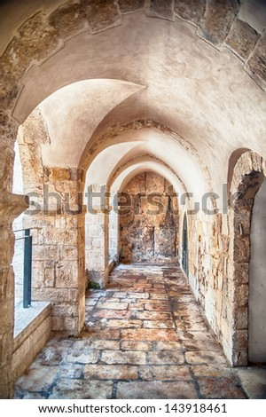 Passage in the OLd City of Jerusalem - stock photo