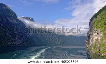 Passage through the beautiful Geiranger Fiord in Norway