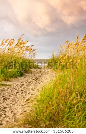 Passage to the Tybee beach during a cloud golden hour. It is located in the Tybee island, Georgia, Us. - stock photo