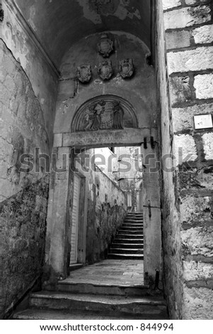 Passageway in Dubrovnik, Croatia.  Black and white. - stock photo