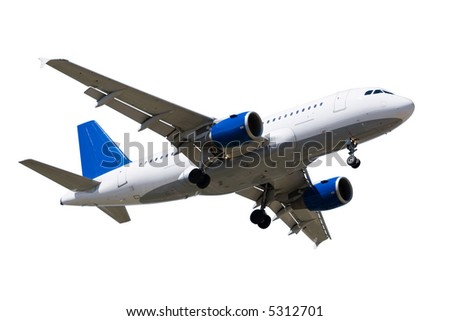 Passanger airplane isolated over white background - stock photo