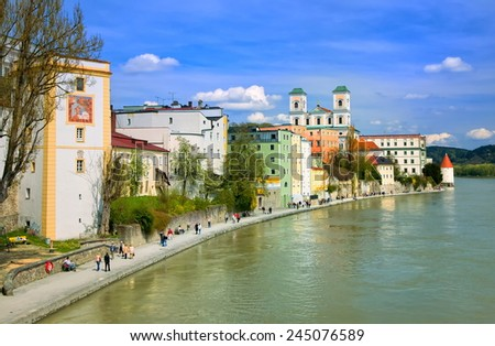 Passau, old town on Danube River, Germany - stock photo