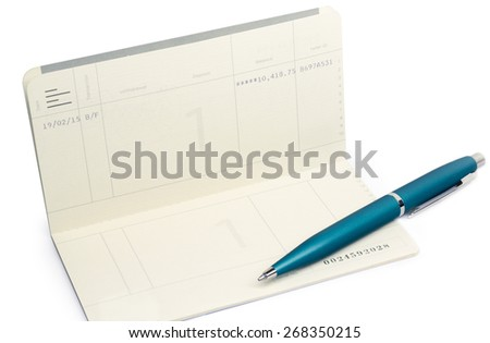 passbook and pan on white background