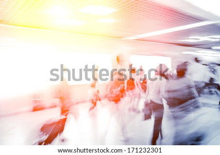 passenger activity, walking at station indoor - stock photo