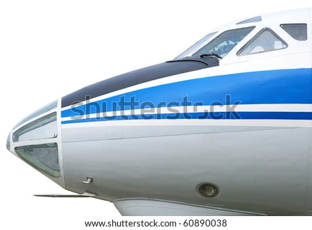 Passenger aircraft closeup, isolated on white background - stock photo