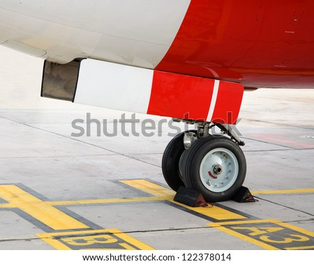 Passenger aircraft nose wheel.