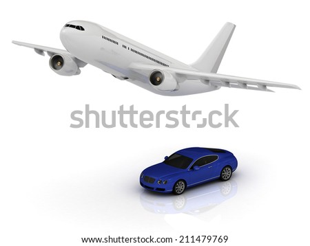 Passenger airliner and blue car. Top view isolated on white - stock photo