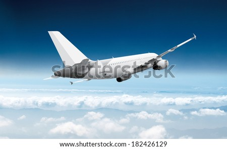 Passenger airliner flight in the blue sky - stock photo