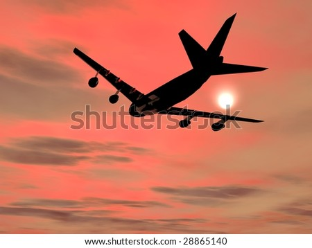 Passenger Airliner taking off and cruising