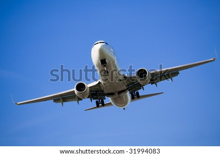 Passenger airplane before landing in an airport