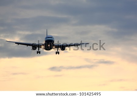 Passenger airplane coming in for a landing