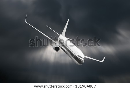 Passenger airplane falling from sky against stormy cloudscape - stock photo