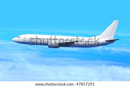 Passenger airplane in the blue sky landing away - stock photo