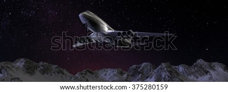 Passenger Airplane in the night sky