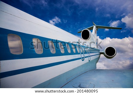 passenger airplane in the sky - stock photo