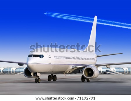passenger airplane is landing to runway of airport