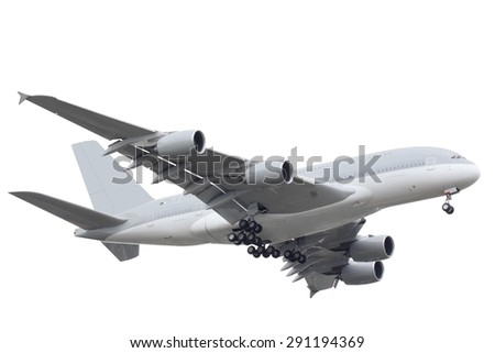 passenger airplane isolated on white background with clipping path - stock photo