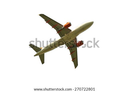 Passenger airplane isolated over white background with clipping path  - stock photo