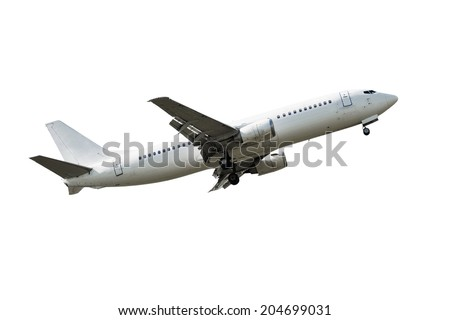 Passenger airplane taking off isolated over white background - stock photo
