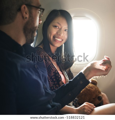 Passenger Airplane Talking Cheerful Concept