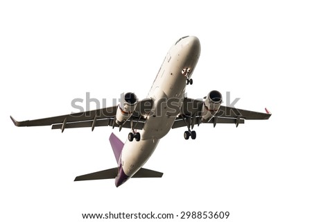 Passenger business airplane take off and flying on white background, use for air transport, journey and travel concept - stock photo