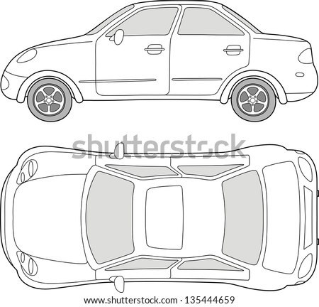 Passenger car (outlined top, side view), isolated on white background - stock photo