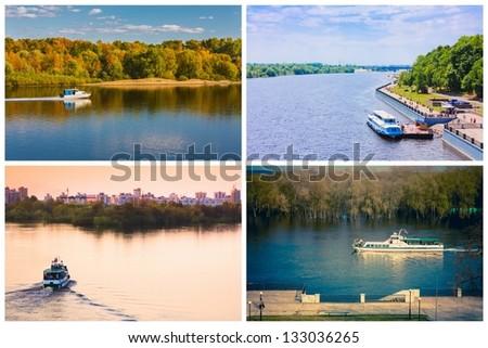 Passenger Cruise Ship On River. Set, Collage - stock photo