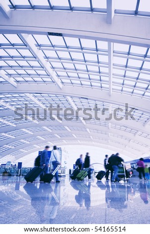 Passenger in the Beijing airport. - stock photo