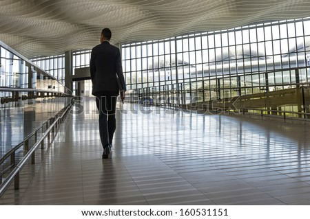 passenger in the Hong Kong airport.interior of the airport - stock photo