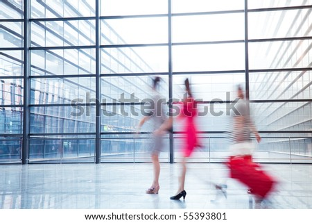 passenger in the shanghai pudong airport.interior of the airport. - stock photo