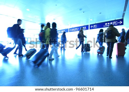 passenger in the shanghai pudong airport.interior of the airport