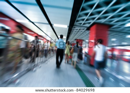passenger in the subway station in guangzhou china - stock photo