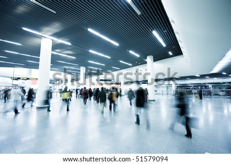 passenger in the subway station in shanghai china. - stock photo