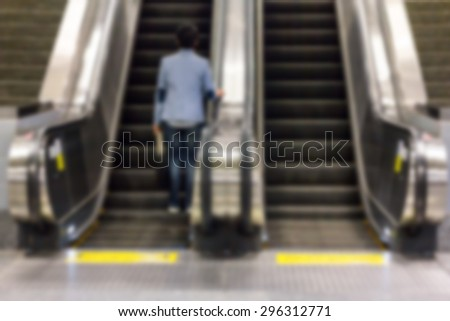 passenger in the subway station in Thailand, blurred motion. - stock photo