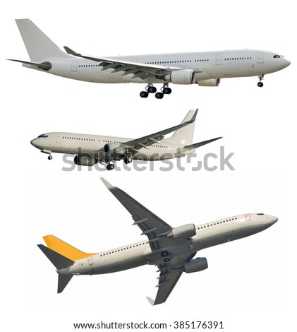 Passenger jet aircrafts cleaned from logos and isolated on white - stock photo