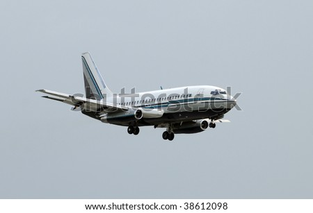 Passenger jet airplane in flight