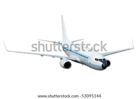 Passenger Jet Airplane Isolated on White - stock photo