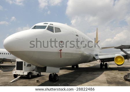 Passenger jet airplane parked for storage