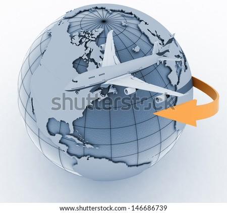 passenger jet airplane travels. 3d render illustration on white background - stock photo