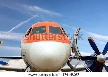 Passenger jet parked for service and refueling