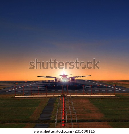 passenger jet plane approaching on airport runways preparing to flying the flight use for air transport,and aircraft for tourist traveling theme - stock photo