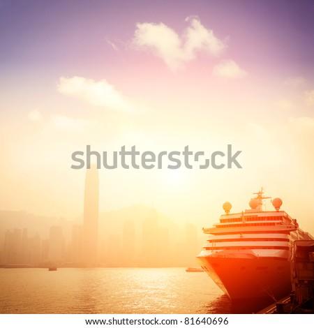 passenger liner in Hong kong - stock photo