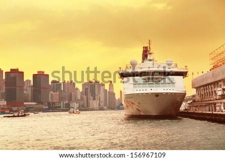 passenger liner in Hong kong , China. - stock photo