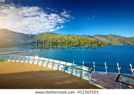 passenger liner in tropical sea against blue sky,Haiti - stock photo