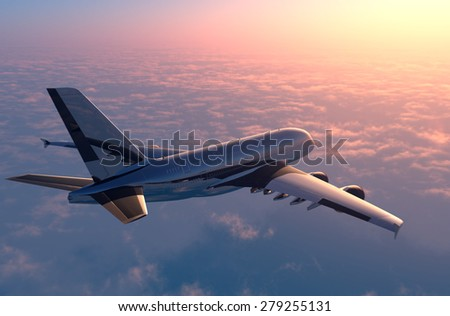 Passenger plane above the clouds. - stock photo