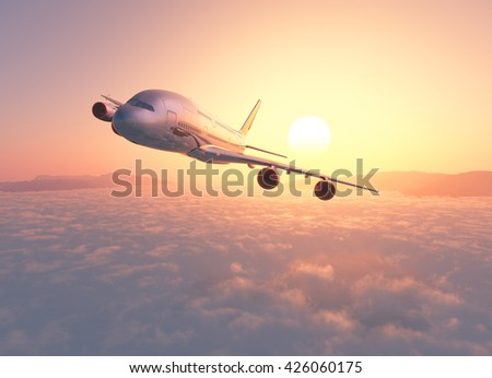 Passenger plane above the clouds. 3d render - stock photo